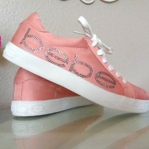 db8653e4e84 BEBE Satin Rhinestone Sneakers Blush Pink